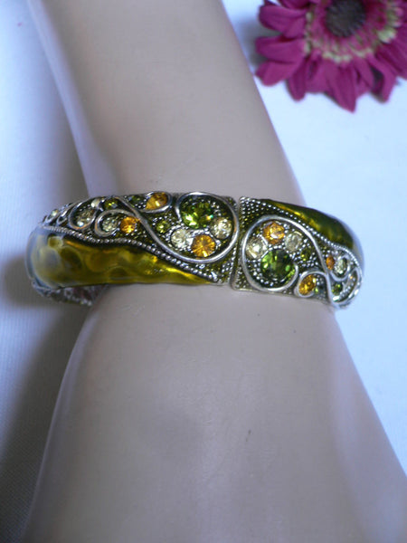 Green Antique Silver Metal Elastic Bracelet Old Olive Green Leave Rhinestone Trendy New Women Fashion Jewelry Accessories - alwaystyle4you - 12