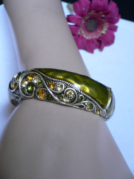 Green Antique Silver Metal Elastic Bracelet Old Olive Green Leave Rhinestone Trendy New Women Fashion Jewelry Accessories - alwaystyle4you - 3