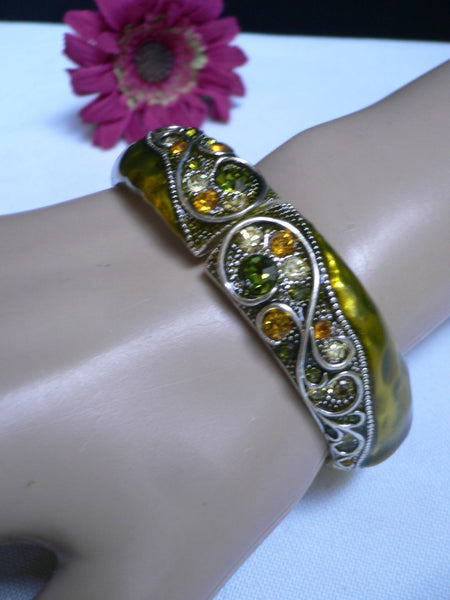 Green Antique Silver Metal Elastic Bracelet Old Olive Green Leave Rhinestone Trendy New Women Fashion Jewelry Accessories - alwaystyle4you - 5