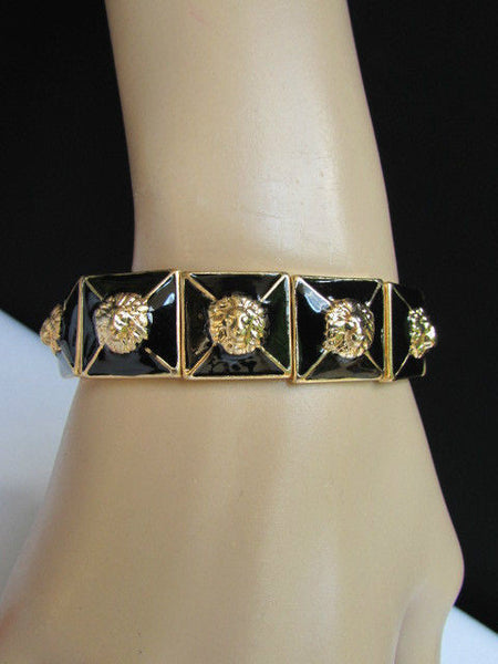 Gold Metal Elastic Bracelet Multi Mini Lion Head Black Squares New Women Fashion Accessories - alwaystyle4you - 1