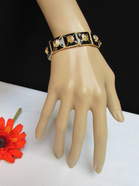 Gold Metal Elastic Bracelet Multi Mini Lion Head Black Squares New Women Fashion Accessories - alwaystyle4you - 3