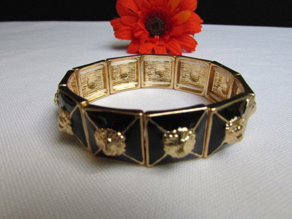 Gold Metal Elastic Bracelet Multi Mini Lion Head Black Squares New Women Fashion Accessories - alwaystyle4you - 4