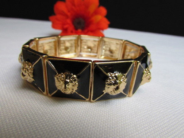 Gold Metal Elastic Bracelet Multi Mini Lion Head Black Squares New Women Fashion Accessories - alwaystyle4you - 6