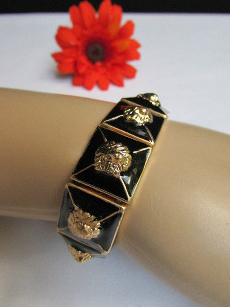 Gold Metal Elastic Bracelet Multi Mini Lion Head Black Squares New Women Fashion Accessories - alwaystyle4you - 7
