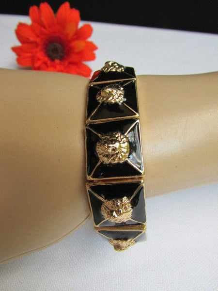 Gold Metal Elastic Bracelet Multi Mini Lion Head Black Squares New Women Fashion Accessories - alwaystyle4you - 9