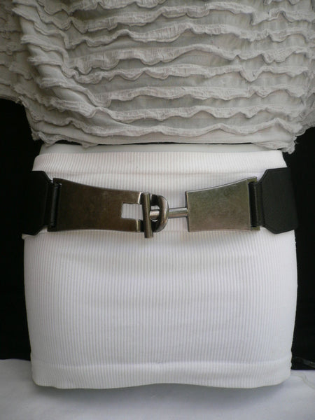 Brown / Black Faux Leather Hip Waist Elastic Fabric Belt Big Silver Metal Buckle New Women Fashion Accessories S - M - alwaystyle4you - 10