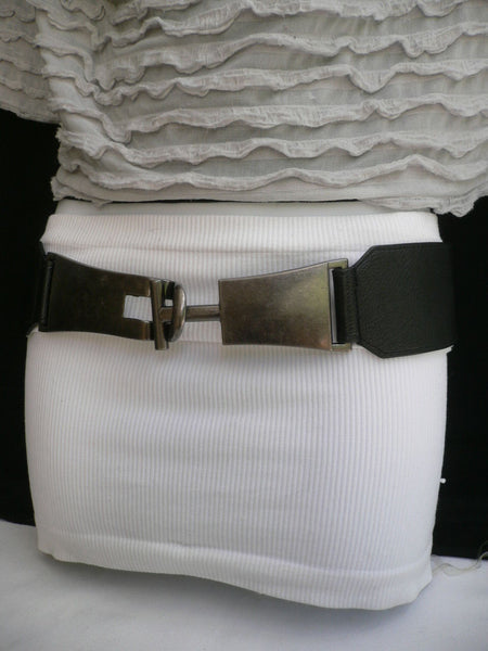Brown / Black Faux Leather Hip Waist Elastic Fabric Belt Big Silver Metal Buckle New Women Fashion Accessories S - M - alwaystyle4you - 15