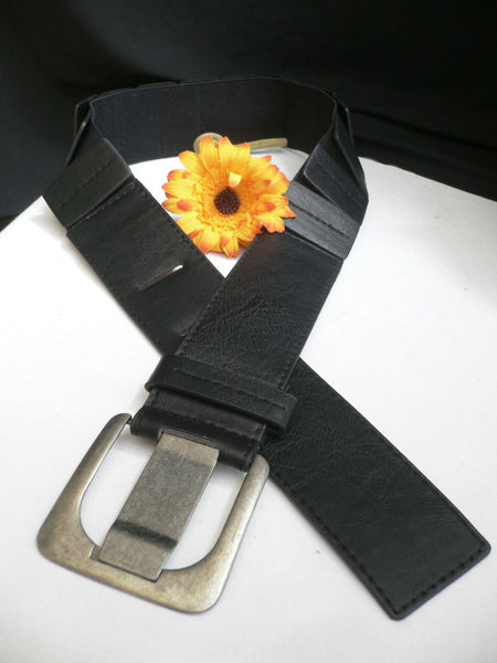 Black Hip Elastic Faux Leather Belt Square Buckle New Women Unique Fashion Accessories XS To L - alwaystyle4you - 2