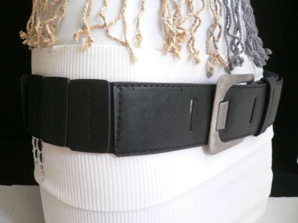 Black Hip Elastic Faux Leather Belt Square Buckle New Women Unique Fashion Accessories XS To L - alwaystyle4you - 3