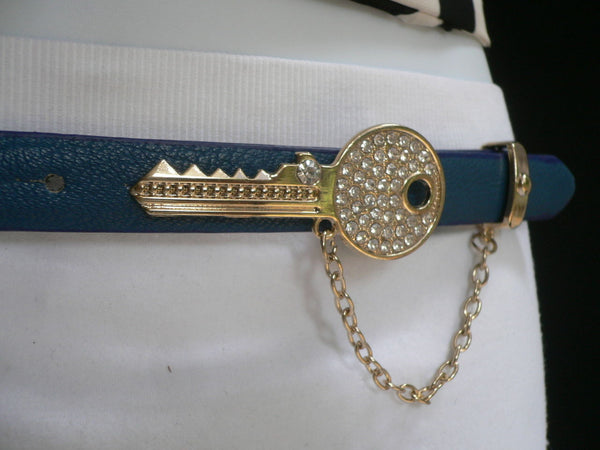 Brown Nude / Blue /  Black / Light Pink Hip Waist Thin Belt Metal Multi Rhinestones Gold Key Buckle New Women Fashion Accessories Medium - alwaystyle4you - 30