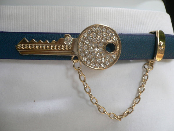 Brown Nude / Blue /  Black / Light Pink Hip Waist Thin Belt Metal Multi Rhinestones Gold Key Buckle New Women Fashion Accessories Medium - alwaystyle4you - 33