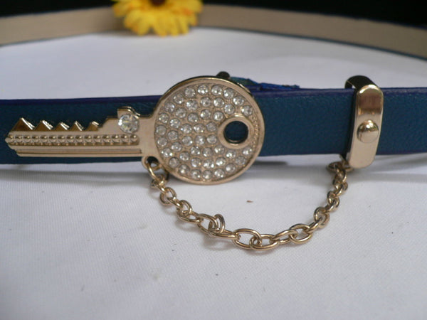 Brown Nude / Blue /  Black / Light Pink Hip Waist Thin Belt Metal Multi Rhinestones Gold Key Buckle New Women Fashion Accessories Medium - alwaystyle4you - 34