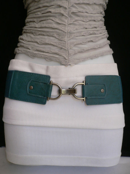 Black Red Dark Green Blue Hip Waist Elastic Stretch Back Wide Belt Silver Clip Buckle New Women Fashion Accessories S M - alwaystyle4you - 24