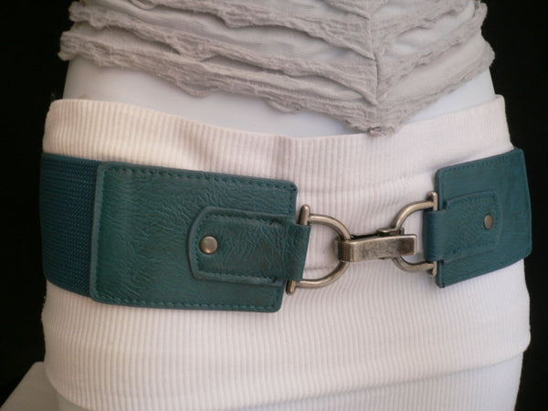 Black Red Dark Green Blue Hip Waist Elastic Stretch Back Wide Belt Silver Clip Buckle New Women Fashion Accessories S M - alwaystyle4you - 26