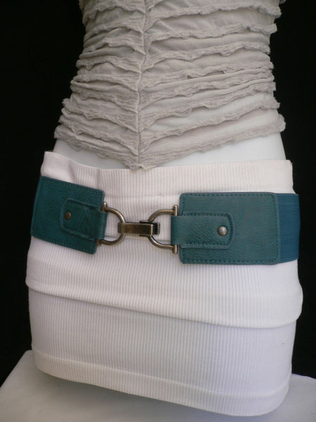 Black Red Dark Green Blue Hip Waist Elastic Stretch Back Wide Belt Silver Clip Buckle New Women Fashion Accessories S M - alwaystyle4you - 17