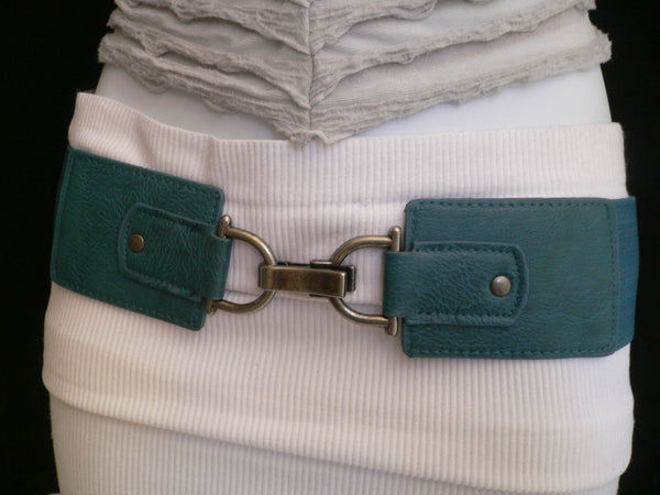 Black Red Dark Green Blue Hip Waist Elastic Stretch Back Wide Belt Silver Clip Buckle New Women Fashion Accessories S M - alwaystyle4you - 18
