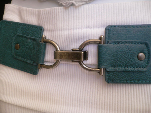 Black Red Dark Green Blue Hip Waist Elastic Stretch Back Wide Belt Silver Clip Buckle New Women Fashion Accessories S M - alwaystyle4you - 20