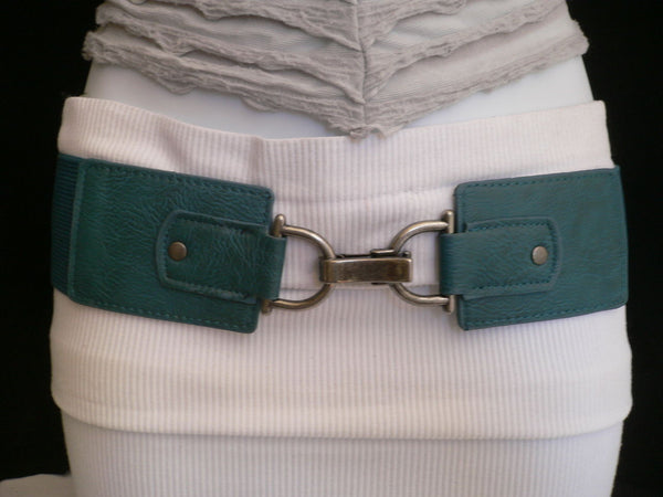 Black Red Dark Green Blue Hip Waist Elastic Stretch Back Wide Belt Silver Clip Buckle New Women Fashion Accessories S M - alwaystyle4you - 2
