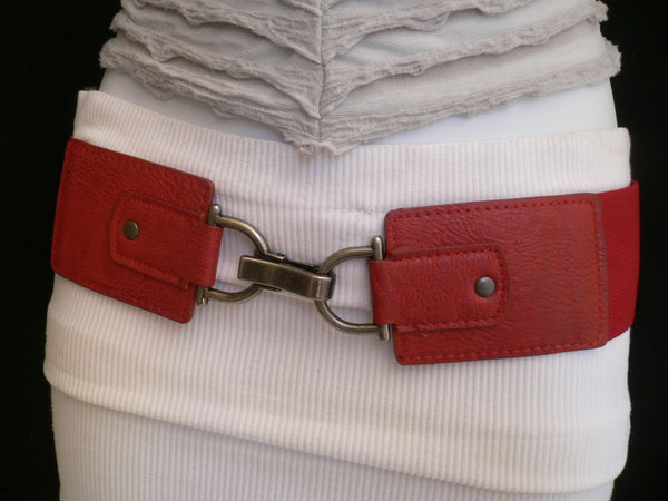 Black Red Dark Green Blue Hip Waist Elastic Stretch Back Wide Belt Silver Clip Buckle New Women Fashion Accessories S M - alwaystyle4you - 39