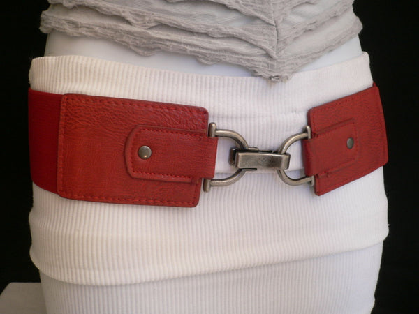 Black Red Dark Green Blue Hip Waist Elastic Stretch Back Wide Belt Silver Clip Buckle New Women Fashion Accessories S M - alwaystyle4you - 41