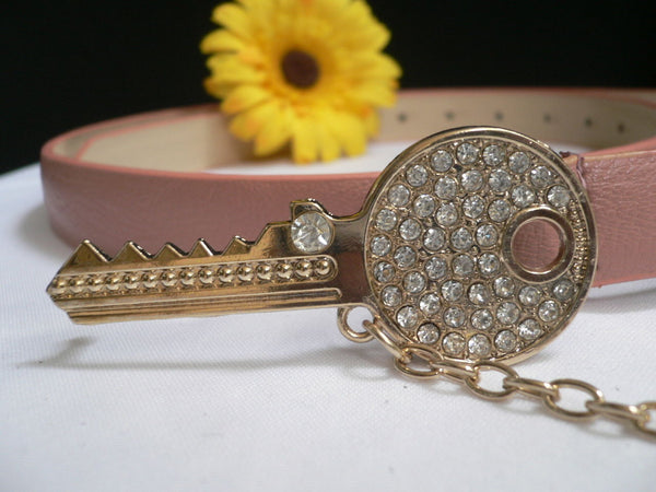 Brown Nude / Blue /  Black / Light Pink Hip Waist Thin Belt Metal Multi Rhinestones Gold Key Buckle New Women Fashion Accessories Medium - alwaystyle4you - 17