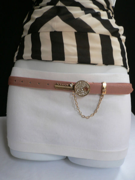 Brown Nude / Blue /  Black / Light Pink Hip Waist Thin Belt Metal Multi Rhinestones Gold Key Buckle New Women Fashion Accessories Medium - alwaystyle4you - 42