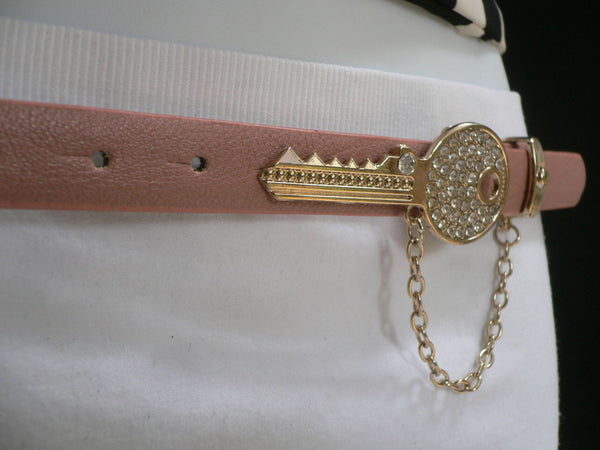 Brown Nude / Blue /  Black / Light Pink Hip Waist Thin Belt Metal Multi Rhinestones Gold Key Buckle New Women Fashion Accessories Medium - alwaystyle4you - 43