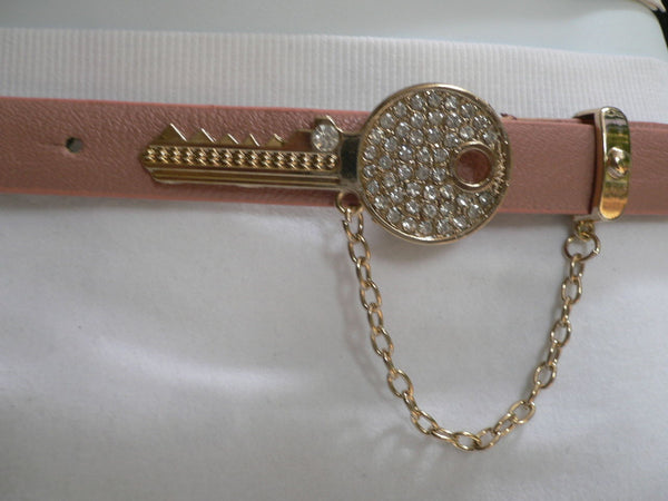 Brown Nude / Blue /  Black / Light Pink Hip Waist Thin Belt Metal Multi Rhinestones Gold Key Buckle New Women Fashion Accessories Medium - alwaystyle4you - 45