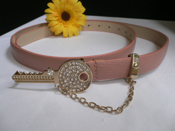 Brown Nude / Blue /  Black / Light Pink Hip Waist Thin Belt Metal Multi Rhinestones Gold Key Buckle New Women Fashion Accessories Medium - alwaystyle4you - 46