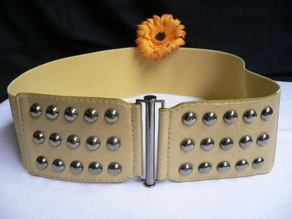 Gold Faux Leather Wide Elastic Stretch Back Belt Pewter Studs New Women Fashion Accessories Plus Size M-XL - alwaystyle4you - 5