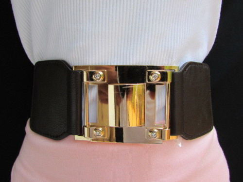 Dark Brown Elastic Waist Hip Belt Big Gold Metal Hook Buckle New Women Fashion Accessories M L