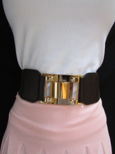 Dark Brown Elastic Waist Hip Belt Big Gold Metal Hook Buckle New Women Fashion Accessories M L - alwaystyle4you - 12