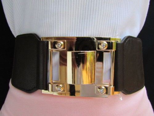 Dark Brown Elastic Waist Hip Belt Big Gold Metal Hook Buckle New Women Fashion Accessories M L - alwaystyle4you - 5