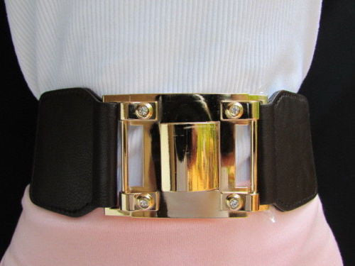 Dark Brown Elastic Waist Hip Belt Big Gold Metal Hook Buckle New Women Fashion Accessories M L - alwaystyle4you - 8