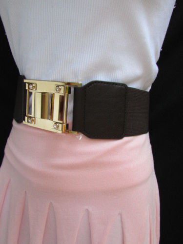 Dark Brown Elastic Waist Hip Belt Big Gold Metal Hook Buckle New Women Fashion Accessories M L - alwaystyle4you - 9