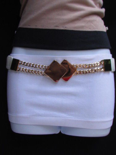 Gray / White / Black Waist Hip Stretch Back Belt Gold Chains Squares Metal Buckle New Women Fashion Accessories Size S M L - alwaystyle4you - 19