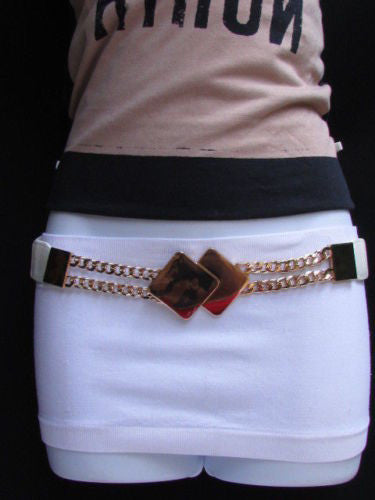 Gray / White / Black Waist Hip Stretch Back Belt Gold Chains Squares Metal Buckle New Women Fashion Accessories Size S M L - alwaystyle4you - 10