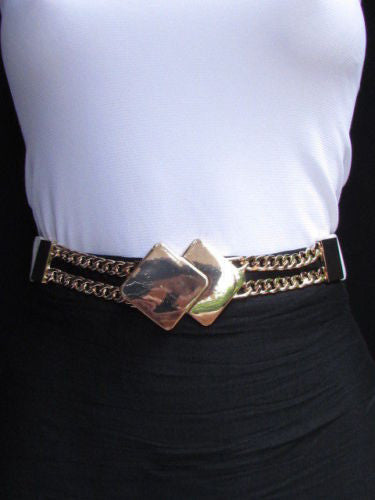 Gray / White / Black Waist Hip Stretch Back Belt Gold Chains Squares Metal Buckle New Women Fashion Accessories Size S M L - alwaystyle4you - 11