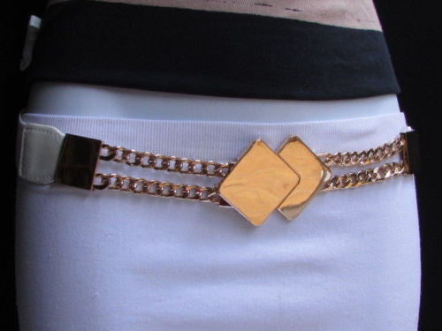 Gray / White / Black Waist Hip Stretch Back Belt Gold Chains Squares Metal Buckle New Women Fashion Accessories Size S M L - alwaystyle4you - 14
