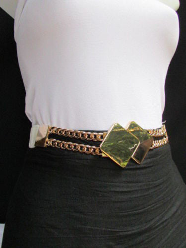 Gray / White / Black Waist Hip Stretch Back Belt Gold Chains Squares Metal Buckle New Women Fashion Accessories Size S M L - alwaystyle4you - 1