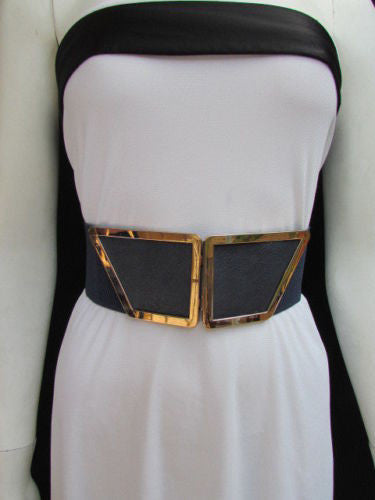 Blue / Dark Brown / Moca Brown Wide Elastic Waist Hip Stretch Back Belt Gold 80's Buckle New Women Fashion Accessories XS - M - alwaystyle4you - 36