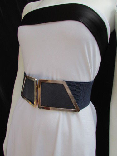Blue / Dark Brown / Moca Brown Wide Elastic Waist Hip Stretch Back Belt Gold 80's Buckle New Women Fashion Accessories XS - M - alwaystyle4you - 27