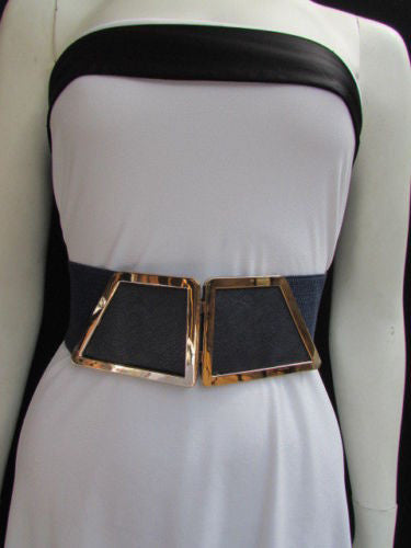 Blue / Dark Brown / Moca Brown Wide Elastic Waist Hip Stretch Back Belt Gold 80's Buckle New Women Fashion Accessories XS - M - alwaystyle4you - 28