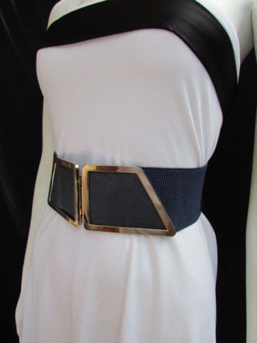 Blue / Dark Brown / Moca Brown Wide Elastic Waist Hip Stretch Back Belt Gold 80's Buckle New Women Fashion Accessories XS - M - alwaystyle4you - 33