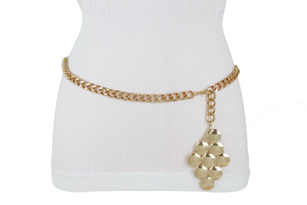 New Women Gold Metal Chain Grape Retro Charm Skinny Narrow Waistband Belt M-XL