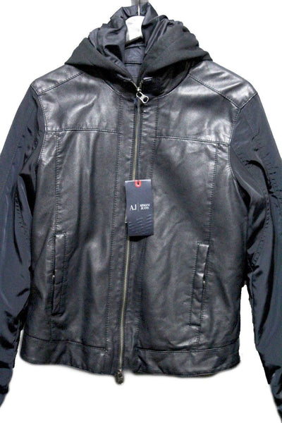 Navy Blue Faux Leather Coat Jacket Cap Blouson New Men Armani Jeans AJ Fashion Size Small