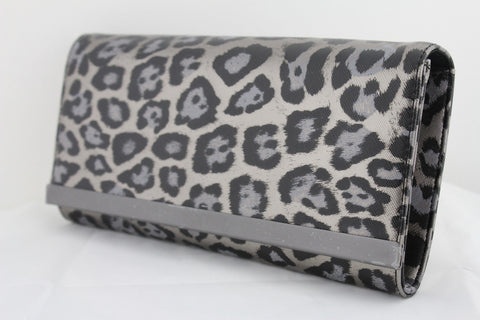 Black Leopard New Purse Clutch Bag Faux Leather Banana Republic Women Fashion