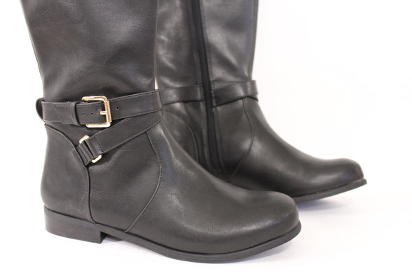 Banana Republic Black Faux Leather Riding Boots Shoes Size 7 New Women Winter Fashion Accessories