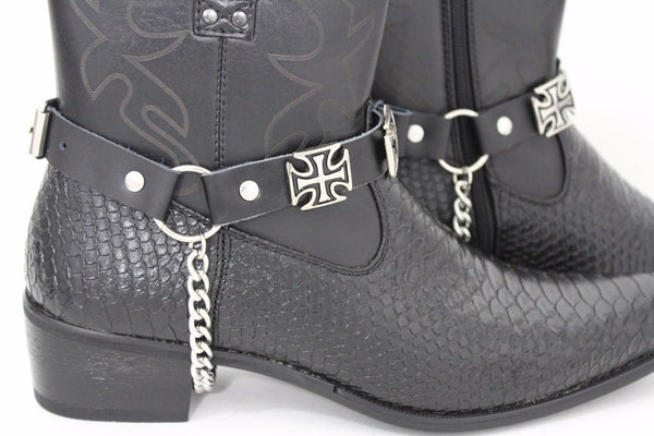 Black Silver Leather Straps Iron Cross Pair Boot Chain New Men Biker Western Fashion Accessories