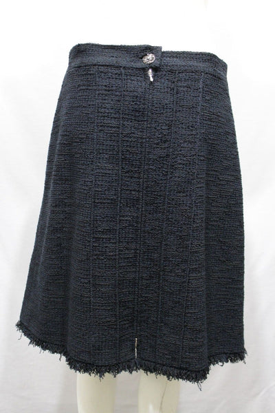 Black Blue A Line Skirt Cotton Nylon Cocktail Style New Chanel Women  8 US 42